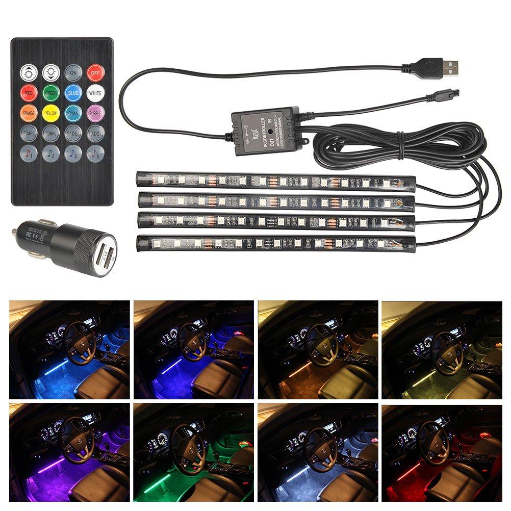 QLOUNI Car Interior Lights 4pcs 48 LED DC 5V Multicolor LED Strip Light Music Sensor + Sound Active + Remote Control + Smart USB Ports Car Charger Footwell Underdash Lighting Kit