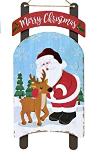 Farmhouse Christmas Decorations Season Holiday Greeting Welcome Signs and Banners (SLED Design Merry Christmas Santa)