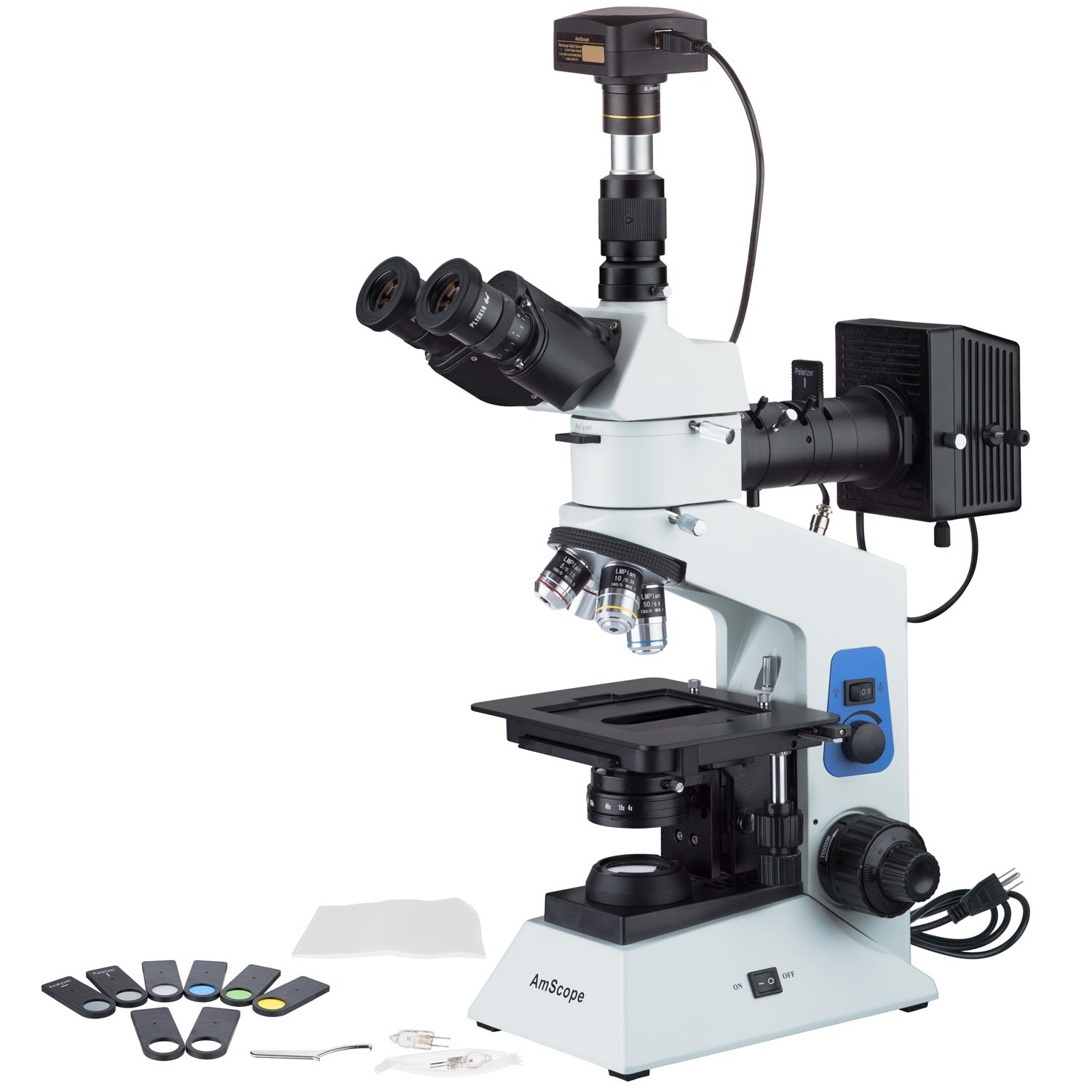 AmScope 40x-800x Polarizing Metallurgical Microscope w Top and Bottom Lights + 14MP USB3.0 Camera by AmScope