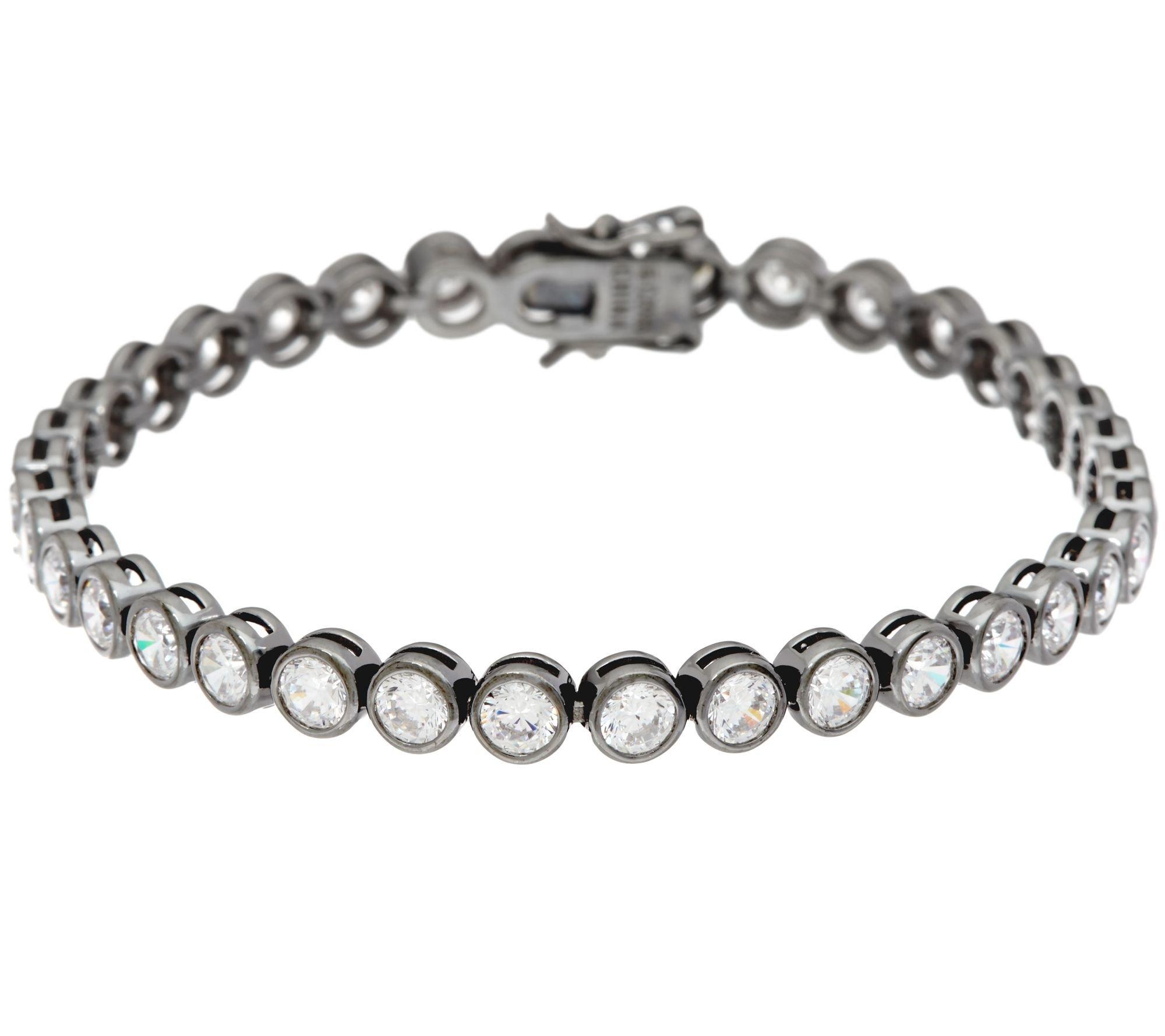 Silvernshine Jewels 7.60 Carat Round Bezel Set D/VVS1 Diamond Black Rhodium-Plated Tennis Bracelet by Silvernshine Jewels