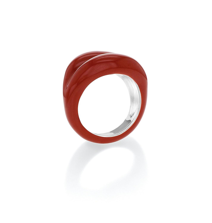 Solange Azagury-Partridge Hotlips Lacquered Sterling Silver Orange Ring 6OSfLgA0