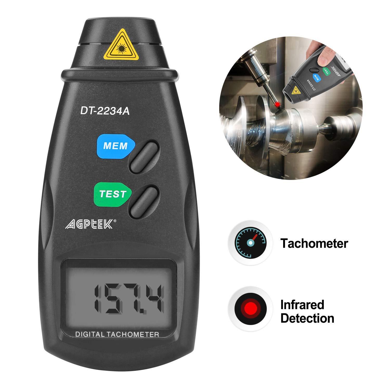 /99,999/rpm accuratezza revisione istruzioni con batterie incluse,4/nastro riflettente 2.5/ FITNATE Agptek 20713/a contagiri digitale rpm Meter senza contatto laser foto