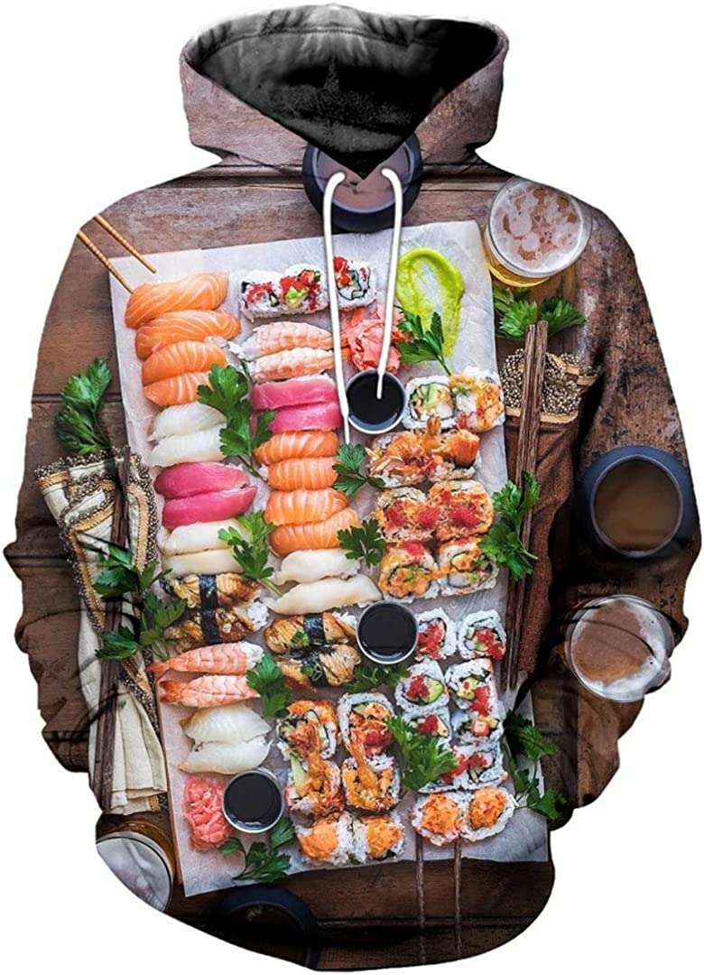 Rtiyslva Fashion Men Food Hoodies Sushi 3D All Over Printed Sweatshirt Unisex Casual Harajuku Hoody