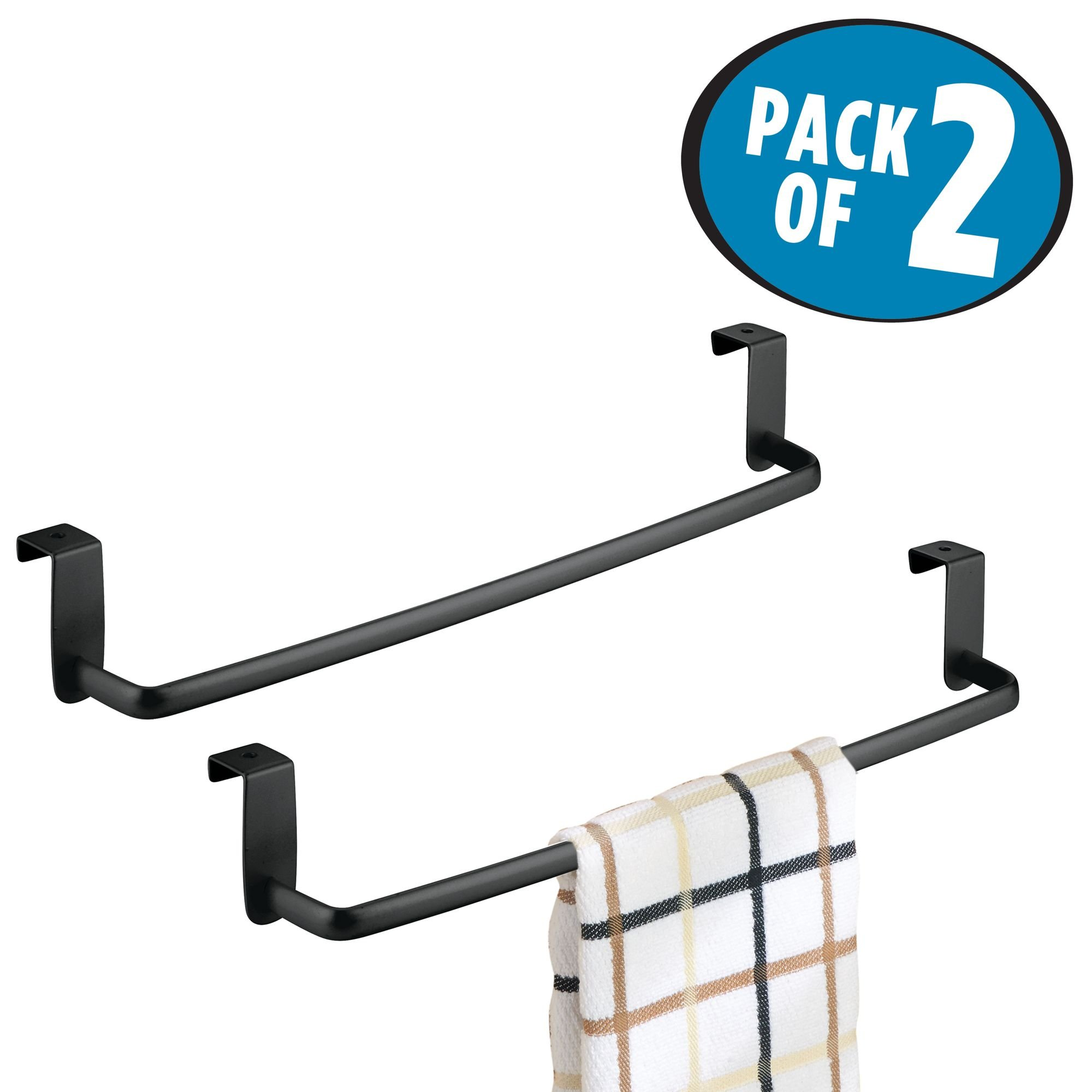 mDesign Kitchen Storage Over Cabinet Curved Steel Towel Bar - Hang on Inside or Outside of Doors, for Organizing and Hanging Hand, Dish, and Tea Towels - 14'' Wide, Pack of 2, Matte Black Finish by mDesign