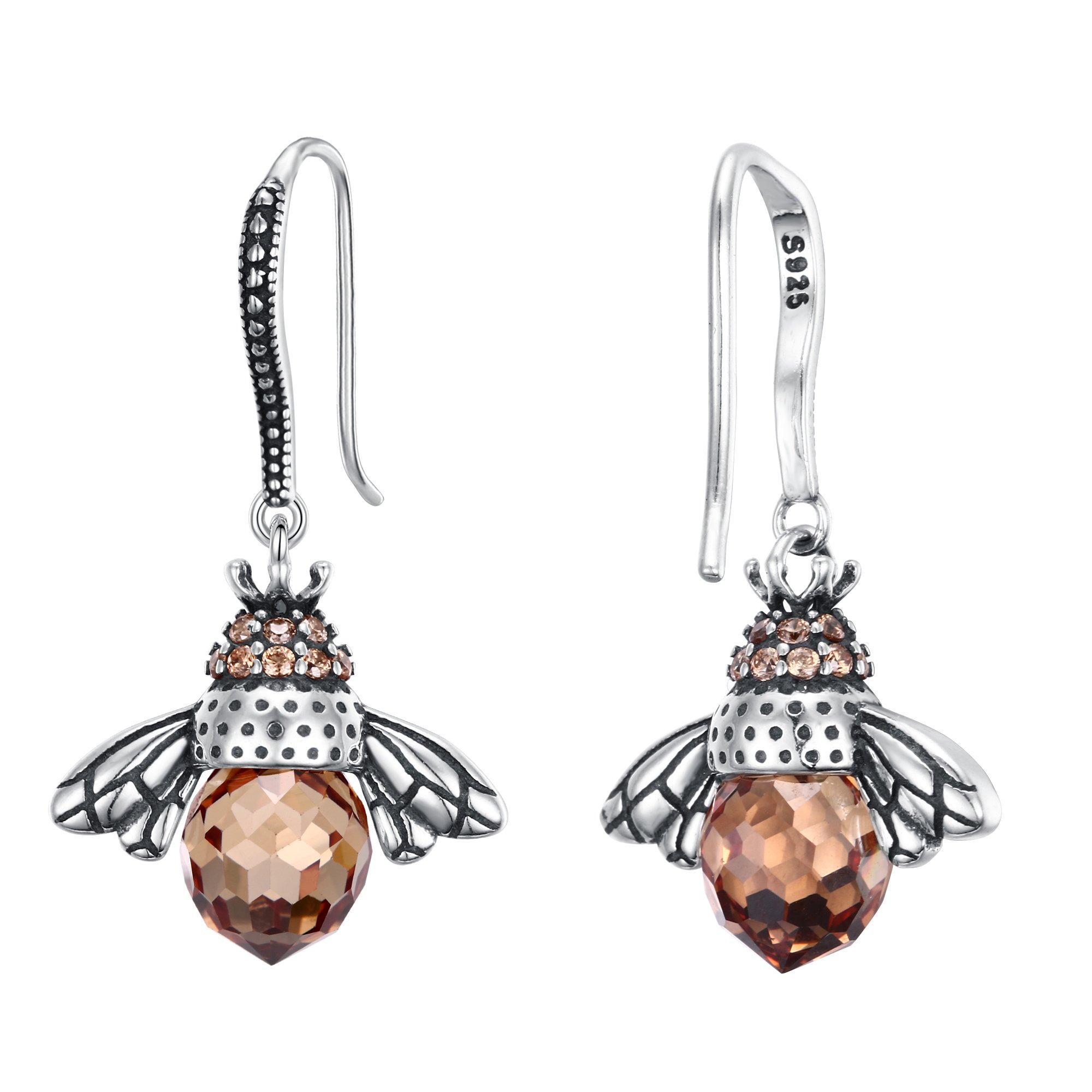 EleQueen 925 Sterling Silver Vintage Inspired Brown Crystals Queen Bee Earrings Jewelry For Women by EleQueen (Image #4)