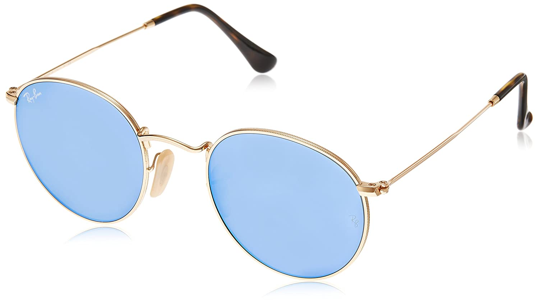 56664ae7e Ray-Ban ROUND METAL - SHINY GOLD Frame LIGHT BLUE FLASH Lenses 47mm Non- Polarized: Amazon.ca: Clothing & Accessories