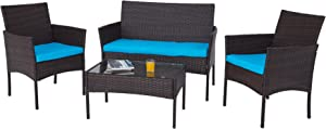 VONLUCE 4 Piece Outdoor Patio Furniture Set, PE Rattan Wicker Conversation Set with Sofa 2 Chairs and Glass Top Coffee Table for Patio Decor, Outdoor Furniture Set with Thick Cushions, Walnut & Blue