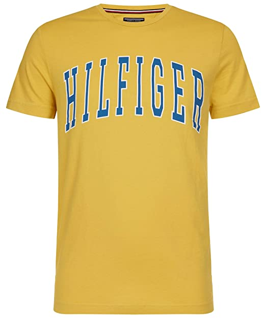 cb68475f Tommy Hilfiger Men's Crew Neck College Logo T-Shirt Yellow XL: Amazon.co.uk:  Clothing
