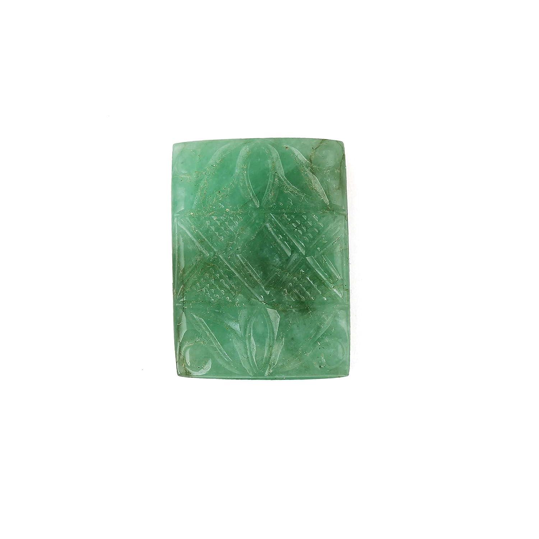 neerupamコレクションナチュラルグリーンZambianエメラルド手彫りGemstone 22.81 CTSのジュエリーMaking   B07952GBH4