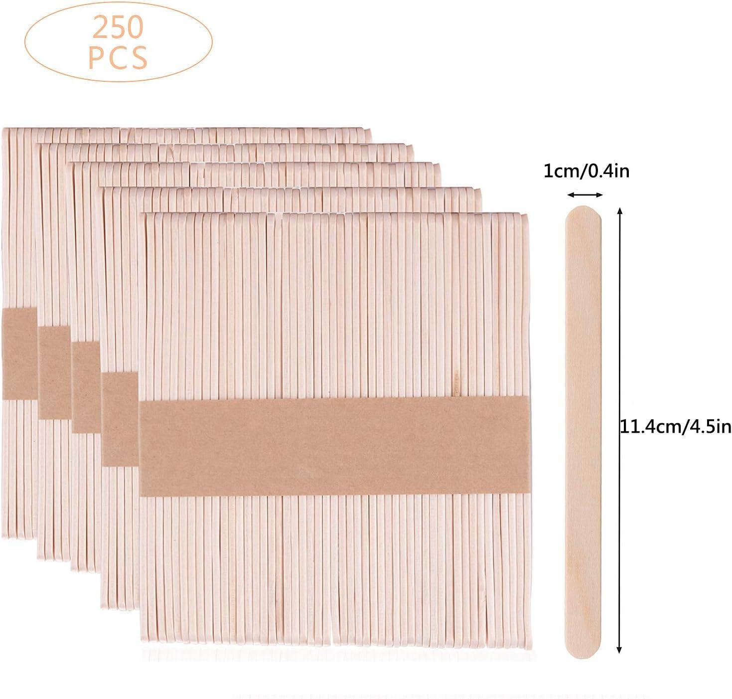 kreative Designs Kinder-Projekte Eisstiele f/ür Bastelarbeiten 3 Gr/ö/ßen Skystuff 300 St/ück Lollipop-Bastelst/äbchen aus Holz mit 150 St/ück farbigen und 150 St/ück nat/ürlich