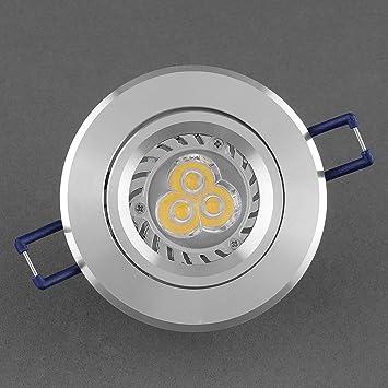amzdeal® Empotrable downlight led 3W Foco LED Basculante Downlight Blanco 220V blanco cálido (cáscara de color plata): Amazon.es: Hogar