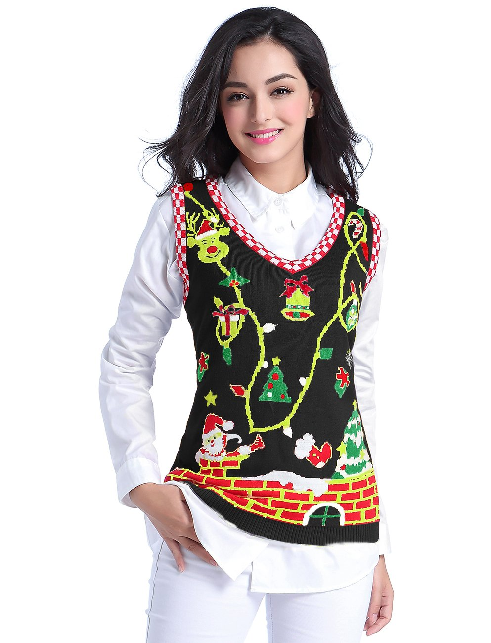 v28 Ugly Christmas Sweater, Women Girl Cute Vintage Knit Xmas Pulli Sweater Vest (XL, Black)