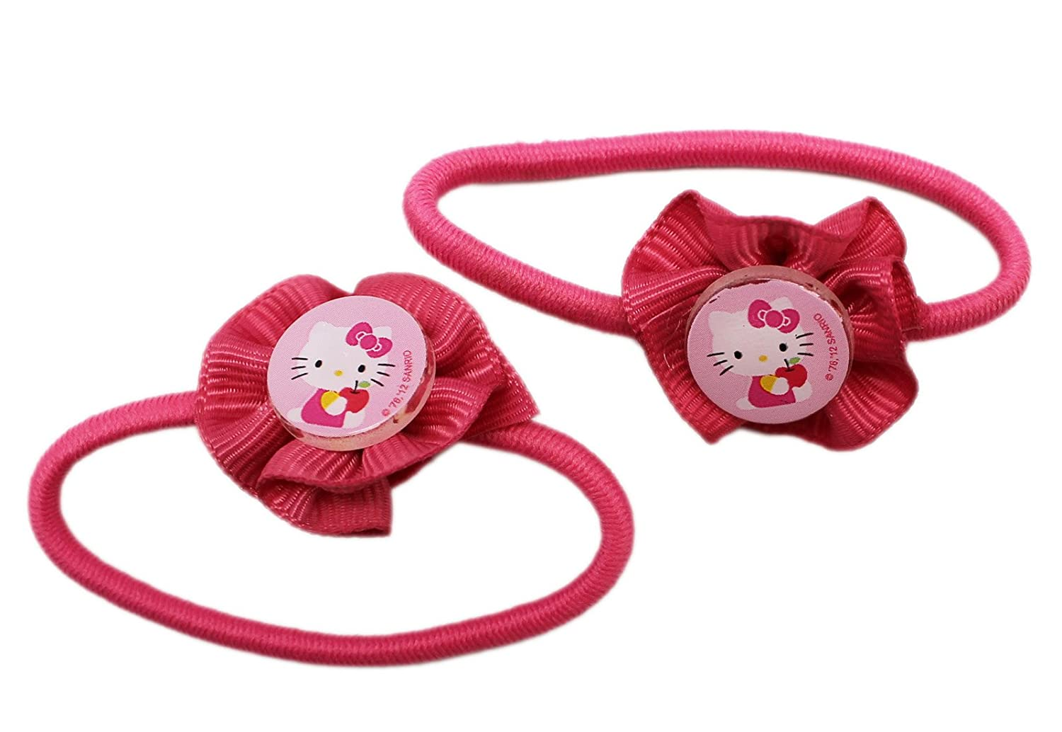 Amazon.com  2 Pack Pink Hello Kitty Flower Hair Ties  Toys   Games 5d9a584e554