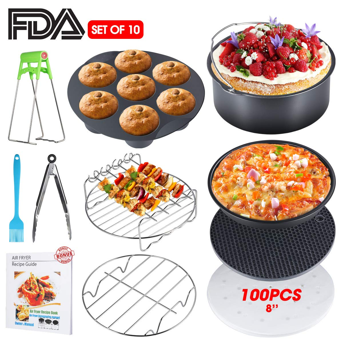 Air Fryer Accessories, XL Air Fryer Accessories with Recipe Cookbook for Gowise Phillips USA Cozyna Airfryer, Set of 11, Deep Fryer Accessories, Fit all 3.7QT-5.3QT-5.8QT-6.8QT, FDA Approved, BPA Free