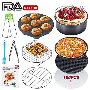 Air Fryer Accessories, XL Air Fryer Accessories with Recipe Cookbook for Gowise Phillips USA Cozyna Airfryer, Set of 11, Deep Fryer Accessories, Fit all 3.7QT-5.3QT-5.8QT-6.8QT, FDA Approved, BPA Free