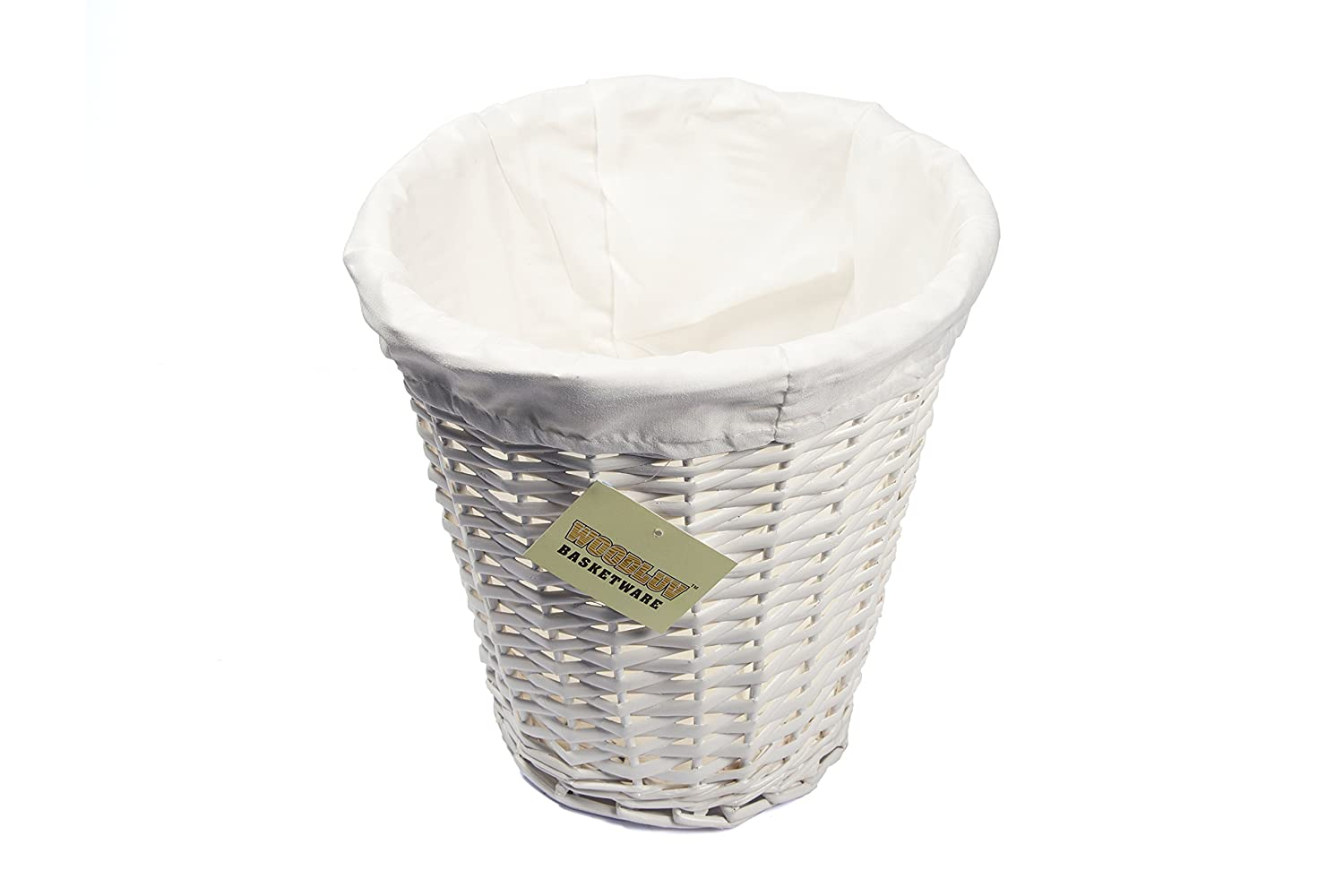woodluv round wicker waste paper bin with cloth lining white: white storage unit wicker