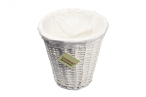 WoodLuv Round Wicker Waste Paper Bin with Cloth Lining, White