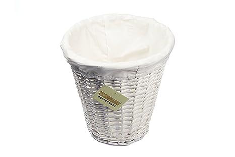 Woodluv Round White Wicker Waste Paper Basket/Storage with Lining