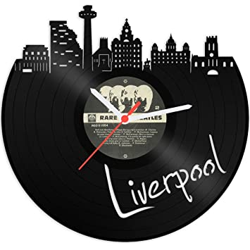 Reloj De Pared De Vinilo placa Reloj Skyline Liverpool upcycling Design Reloj de pared de decoración