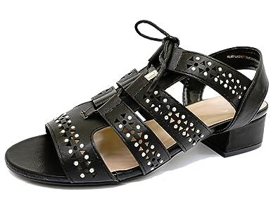 68c90dd8071 Ladies Black Ex-Evans Wide-Fit EEE Wedge Peep-Toe Gladiator Sandals Shoes
