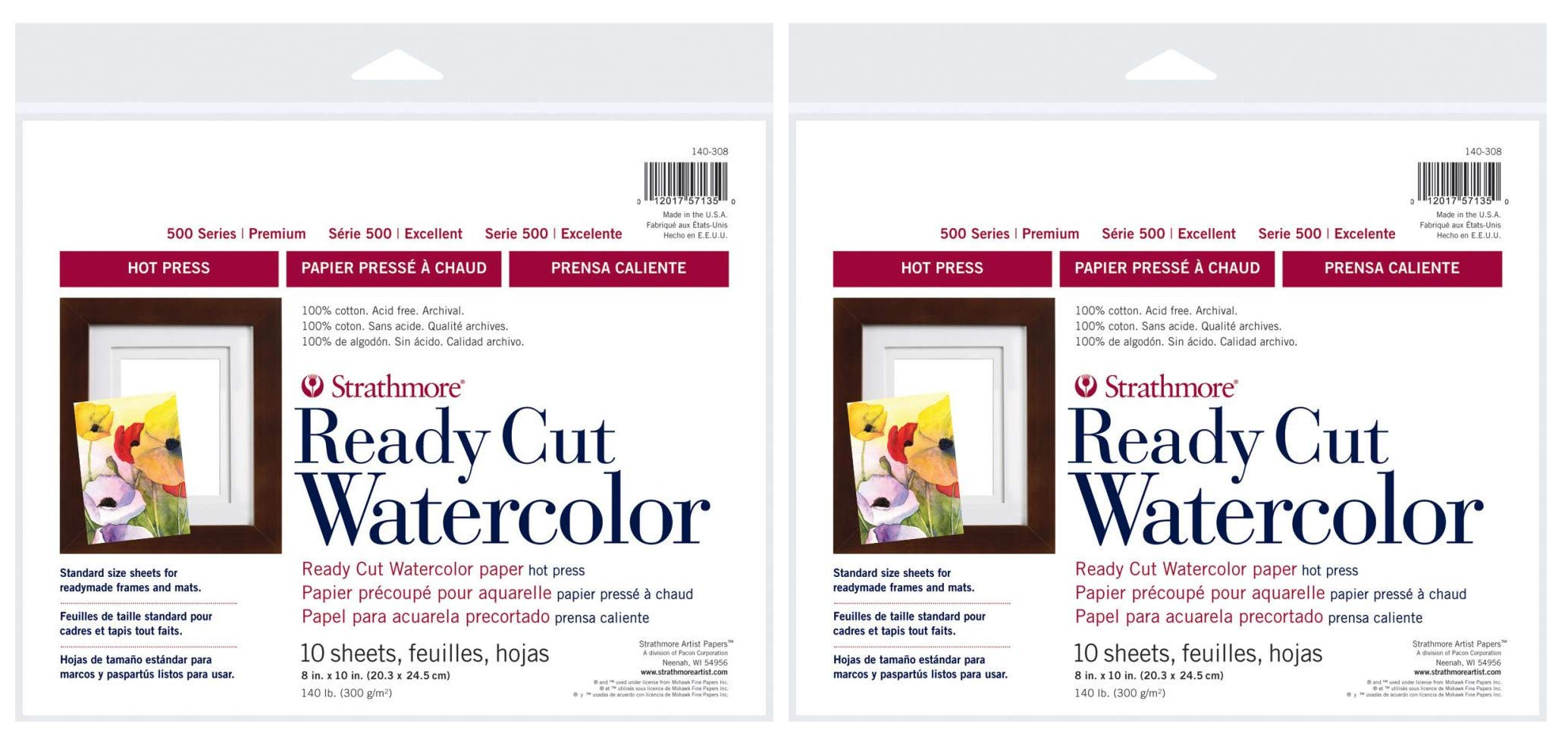 2-Pack - Strathmore 500 Series Hot Press Ready Cut Watercolor Sheet Pack, 8'' x 10'' - 10 Sheets Each by Strathmore