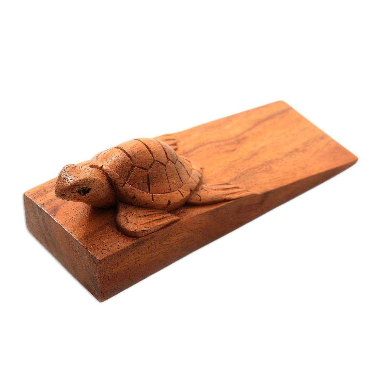 Brown NOVICA 335160 Baby Turtle Wood Door Stopper