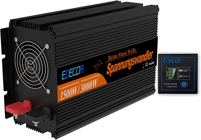 Edecoa Wechselrichter 12v 230v Reiner Sinus 1500w Spannungswandler Mit Fernbedienung Auto