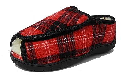 586652698661 Womens Tartan Faux Fur Lined Memory Foam E 5E Extra Wide Fit Open Toe  Slippers 3