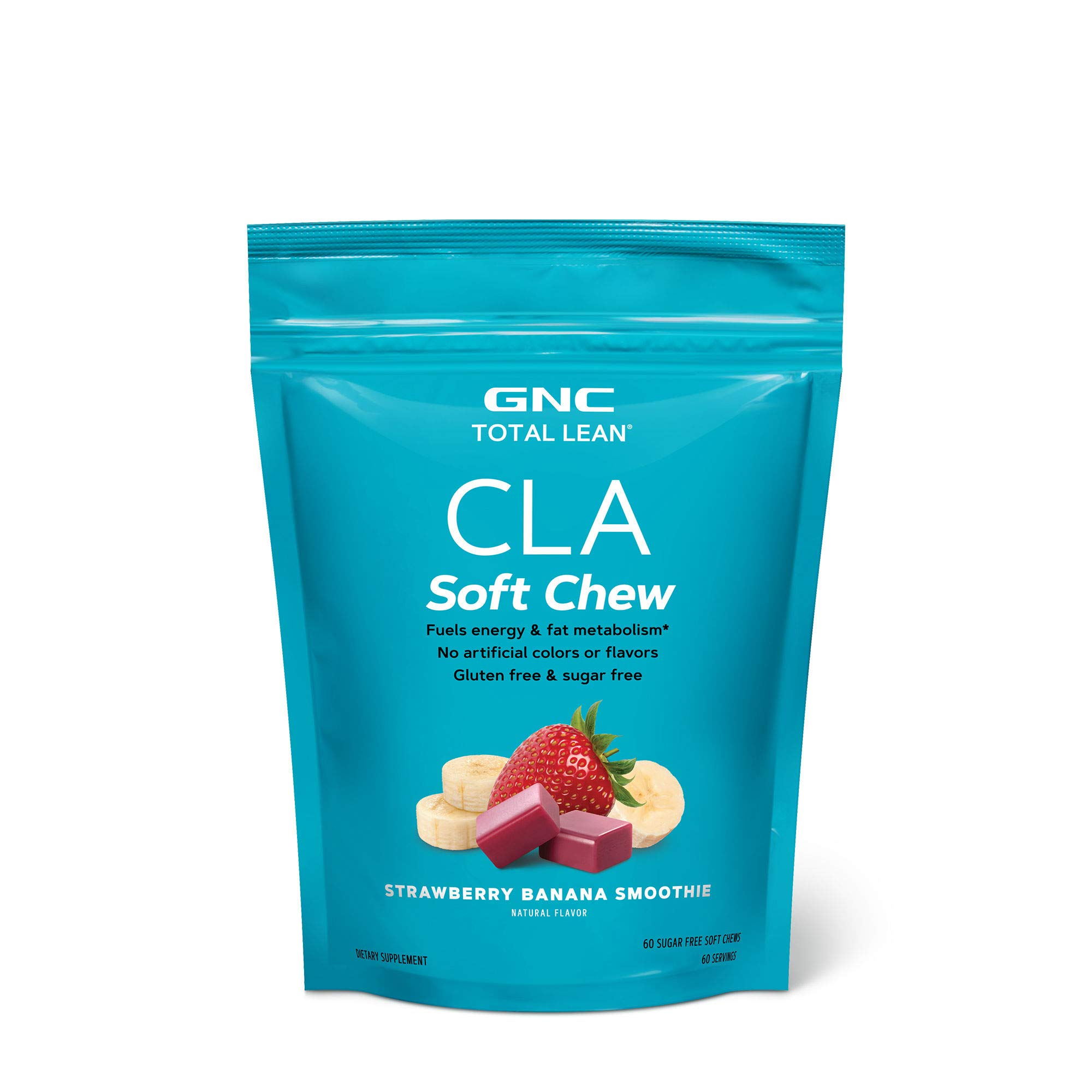 GNC Total Lean CLA Soft Chew, Strawberry Banana Smoothie, 60 Soft Chews, Fuels Energy and Fat Metabolism