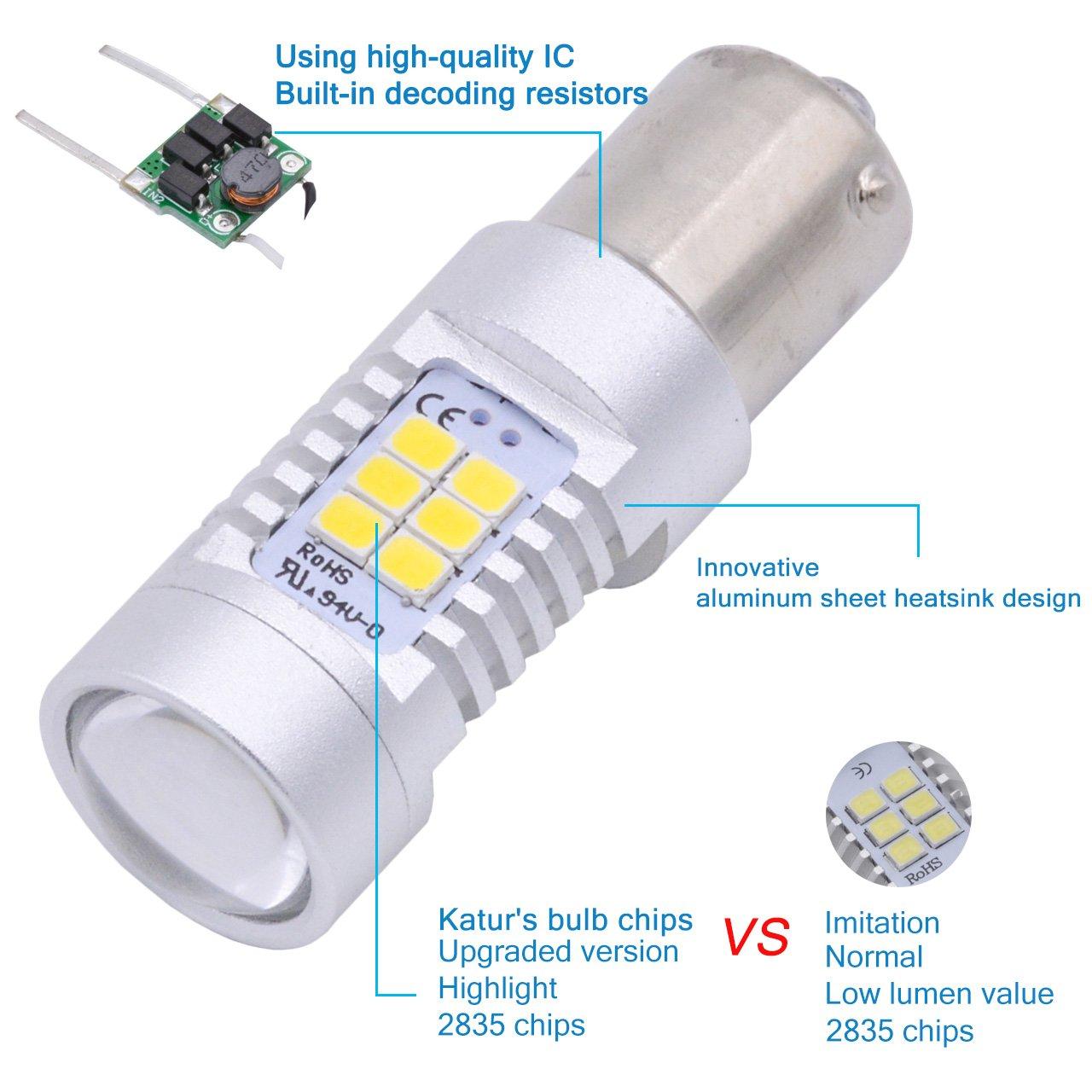 2-Pack TUINCYN 1157 BAY15D LED Turn Siganls Light Bulb White 1016 1034 3496 7528 1196 2835 21 SMD LED Auto Brake Light Backup Reverse Tail Lamp