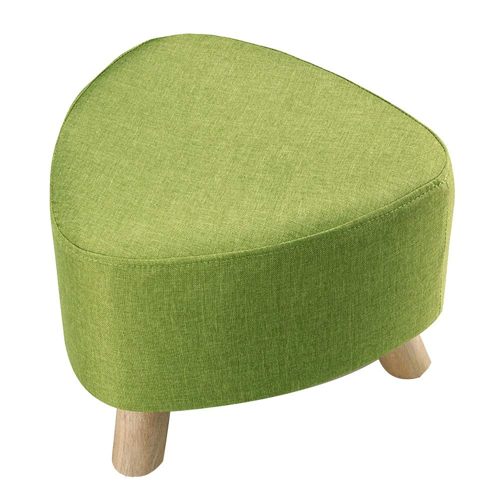 Green 39cm A WEIYV-Barstools,bar Chair Triangle Small Stool Washable Change shoes Stool European Style Cloth Sofa Stool Wearing shoes Low Stool Solid Wood Seat (30 39cm) (color   Yellow30CM, Size   A)