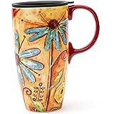 CEDAR HOME Travel Coffee Ceramic Mug Porcelain Latte Tea Cup With Lid 17oz. Orange Flower