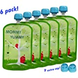 MommyYummy Reusable Food Pouch (6 Pack) - 4.4 Inch. 5oz - Heavy Double Zipper-GreenPack