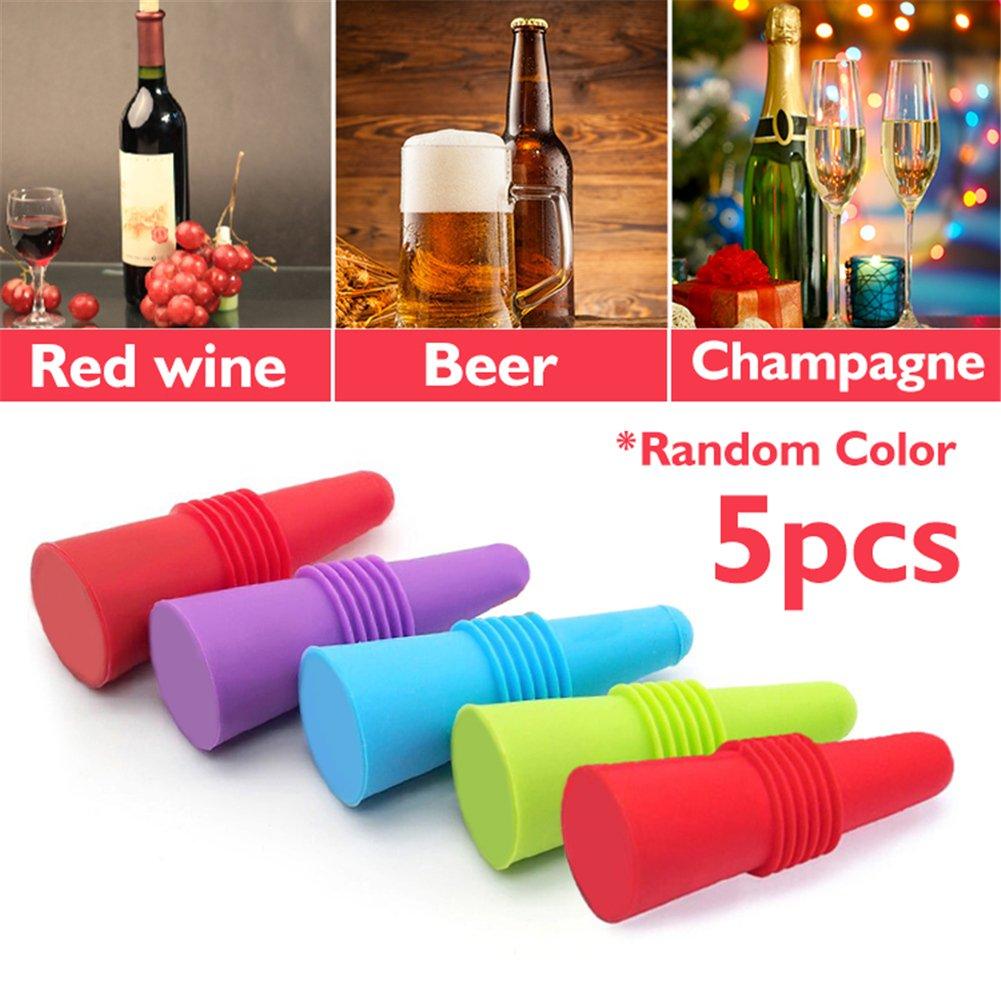 Compra 5 Tapones de Silicona para Botella de Vino de Corcho y Vino, Reutilizables, Tapones de Silicona para champán en Amazon.es
