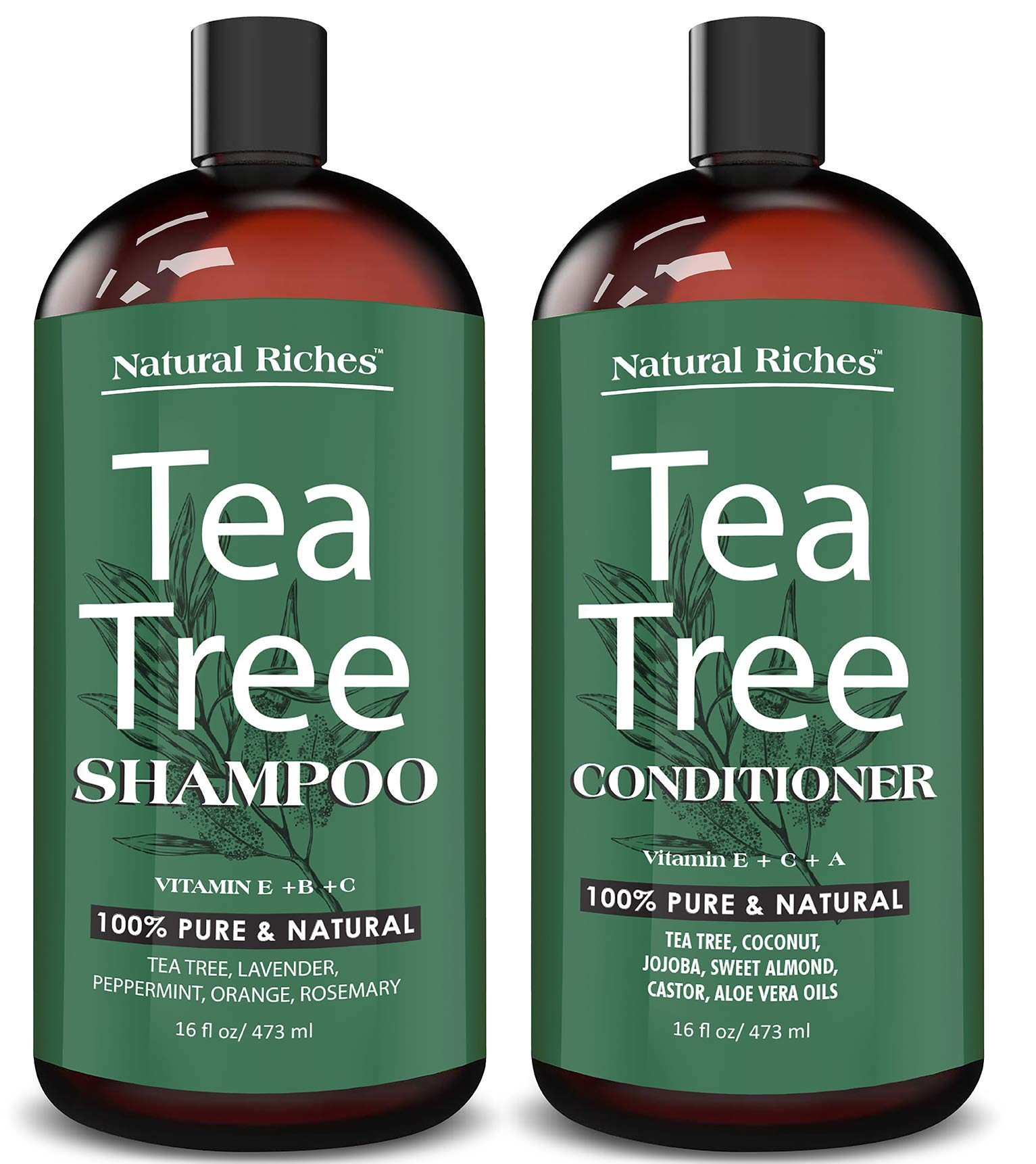 Natural Riches Tea Tree Shampoo and Conditioner Set with 100% Pure Tea Tree Oil, Anti Dandruff for Itchy Dry Scalp, Sulfate Free, Paraben Free - for Men and Women - 2 bottles 16fl oz each by Natural Riches