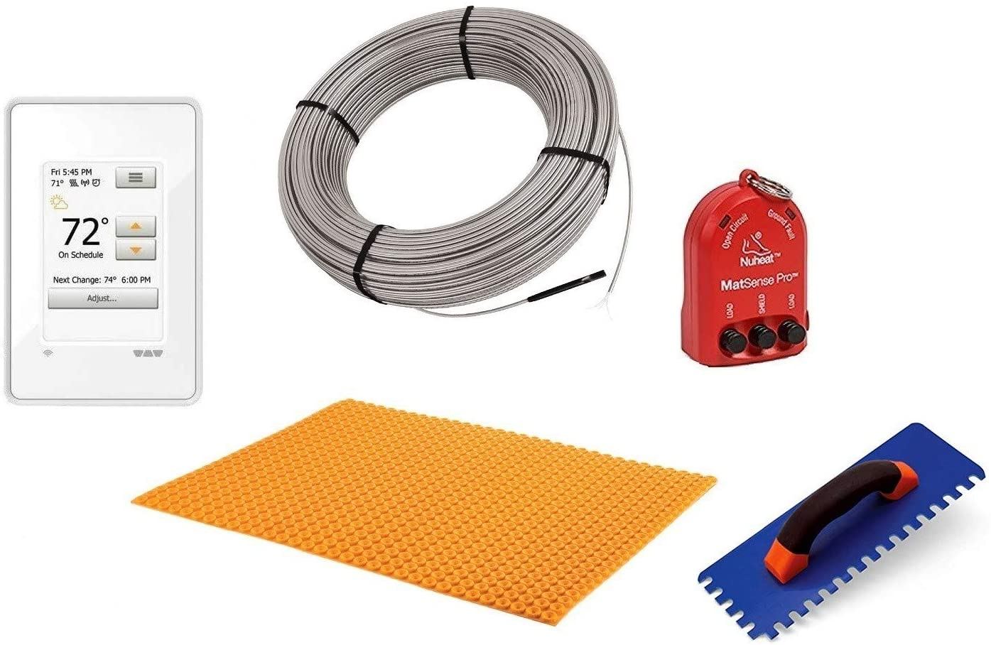 Schluter Ditra Performance Floor Heating Kit -64 Square Feet- Includes WiFi Touchscreen Programmable Thermostat, Heat Membrane, Heat Cable DHEHK12064, Safe Installation Tools