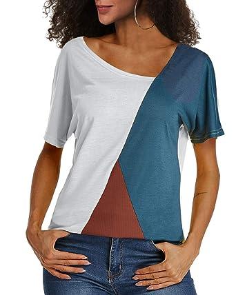 YOINS Donna Camicetta Casuale Maglietta con Spalla Fredda T Shirt con Collo Alto a Maniche Lunghe Pullover a Righe Felpe
