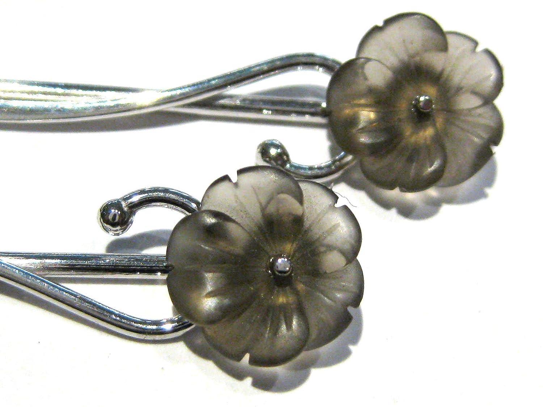 pendientes Cuarzo ahumado flor plata 925%
