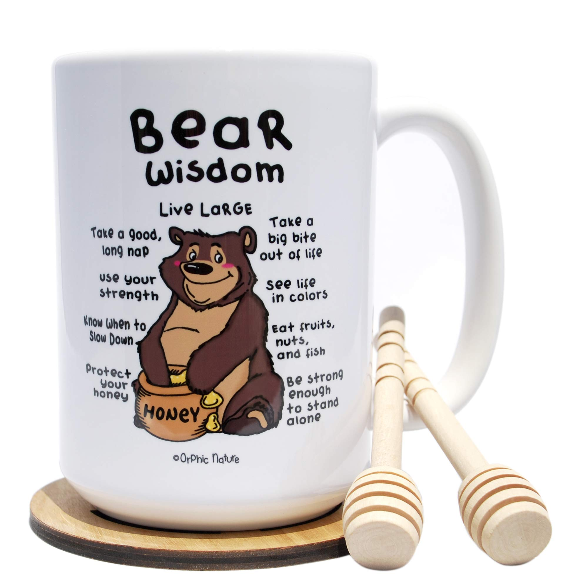 Funny Mug with Honey Dippers and Coaster Bundle - Bear Wisdom - 15 ounce Bear Mug for Beary Special Occasions. Bear the Laughter with Friends, Family and Coworkers. Bear Motivation.