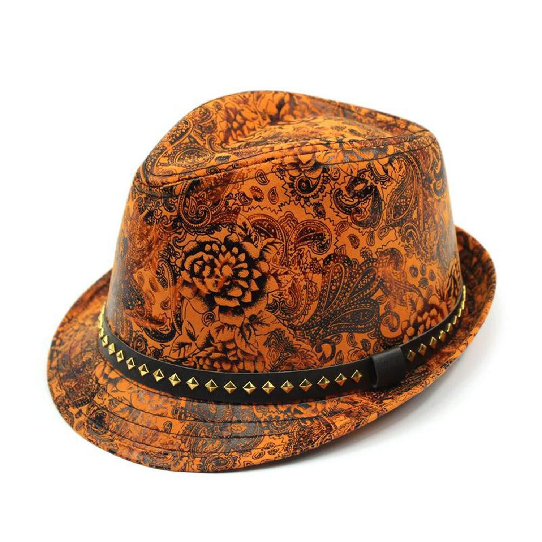 DOSOMI Faux Leather Man Women Fedoras Pu Leather Cap Man Leisure Bucket Cap Women Fashion Jazz Hats