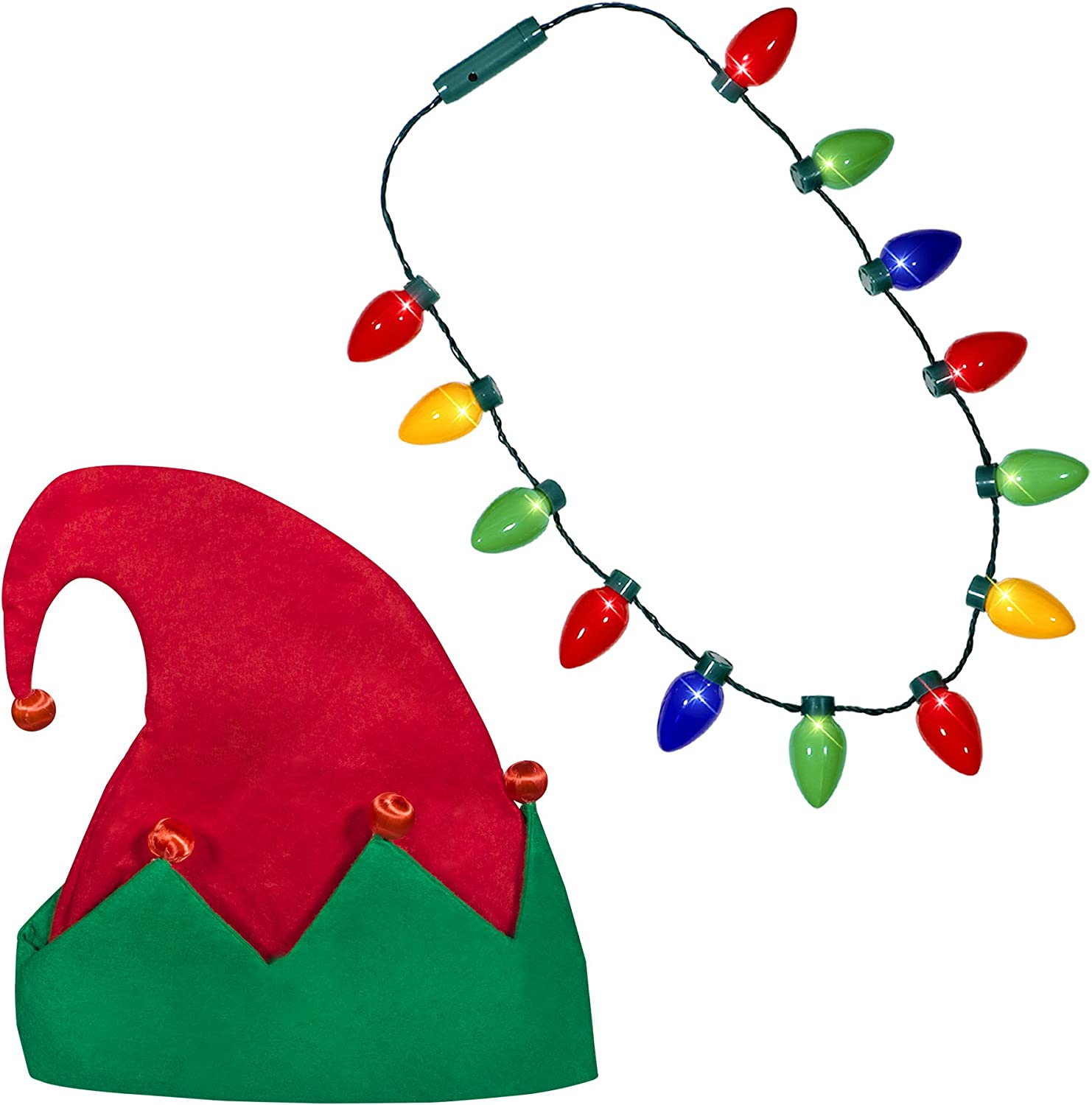Windy City Novelties Ugly Sweater Christmas Party Kit  Holiday LED Elf Hat  LED Christmas Bulb Necklace Combo