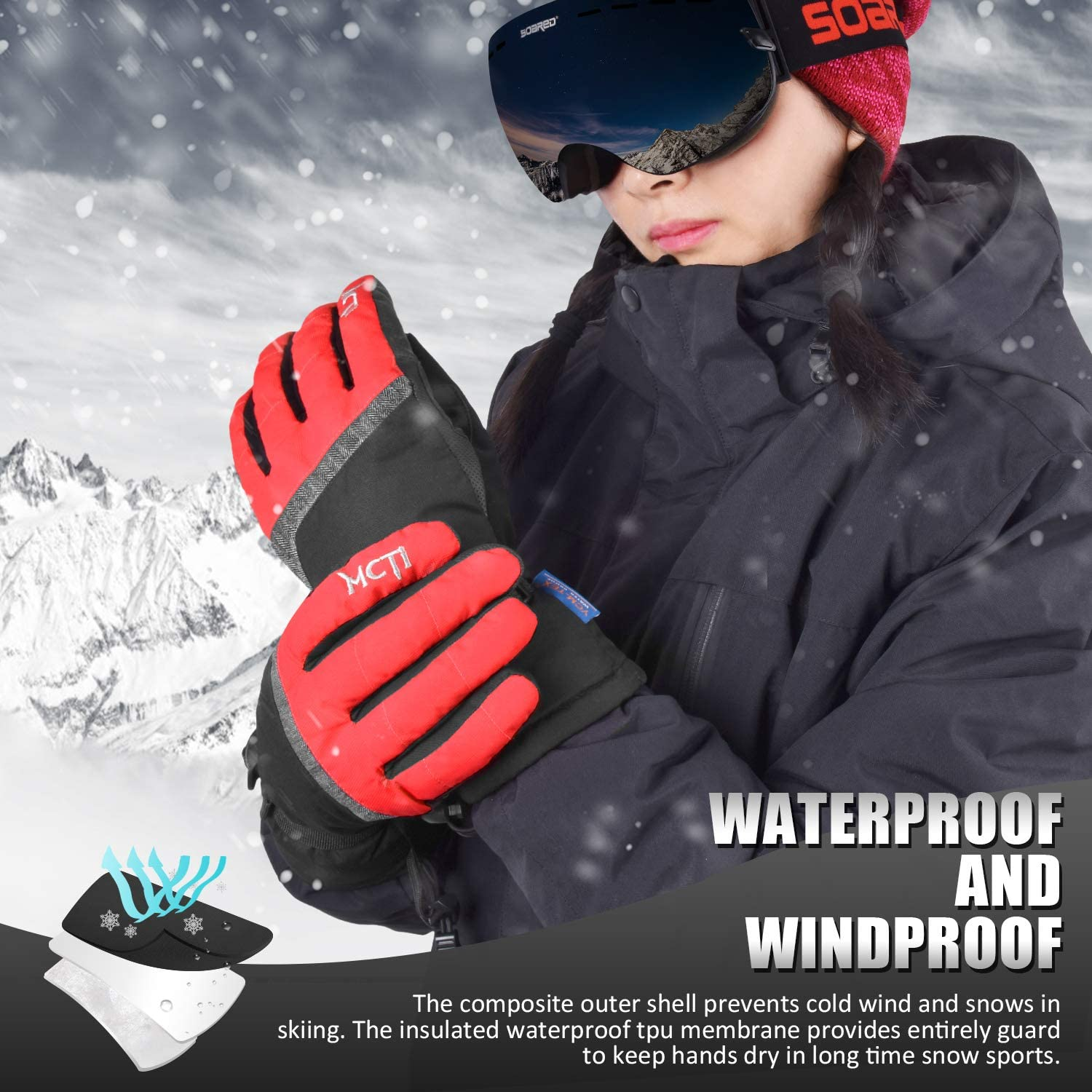 MCTi Ski Gloves, Winter Waterproof Snowboard Snow 3M Thinsulate Warm Touchscreen Cold Weather Women Gloves Wrist Leashes : Clothing