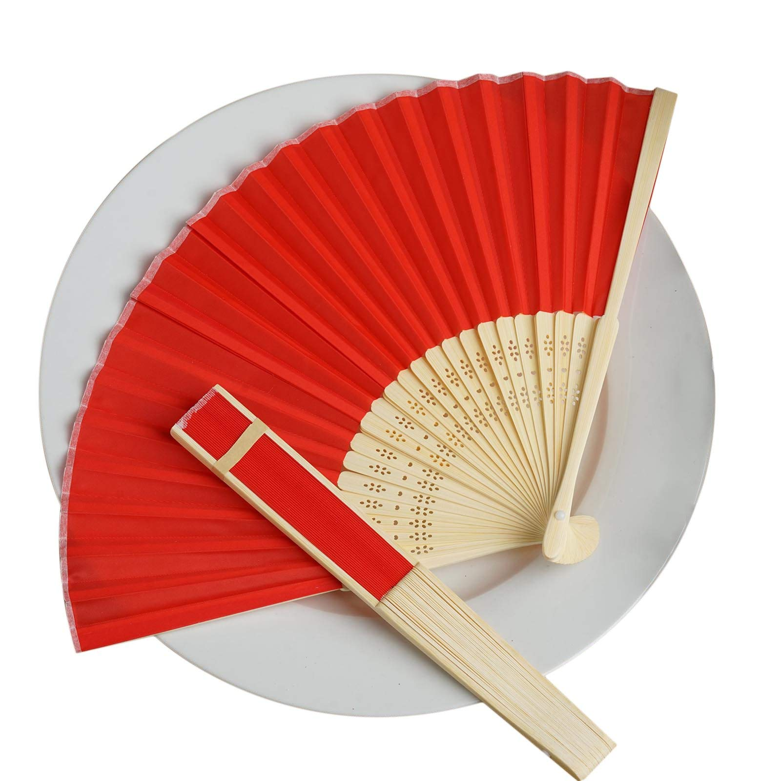 Efavormart Lot of 50 Wholesale Silk Folding Birthday Banquet Event Wedding Party Favor Fans - Lot of 50| Color| Red by Efavormart.com