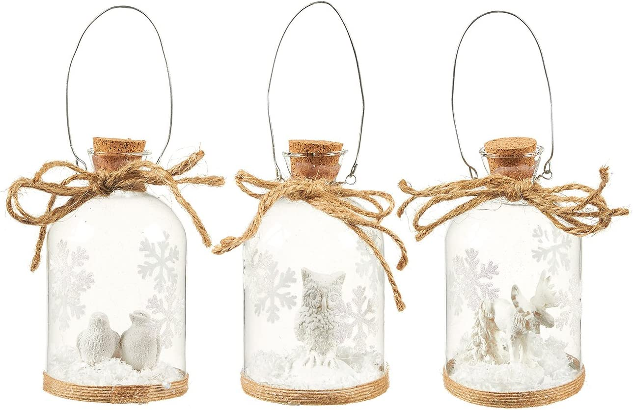 Juvale 3-Pack of Christmas Tree Decorations - Hanging Glass Decorations with Steel Handles, Ornate Christmas Ornaments, Festive Embellishments, 3 Assorted Designs