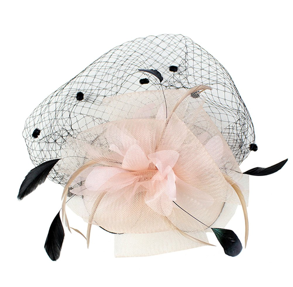 Urban CoCo Women's Bow Feather Net Veil Fascinator Hair Clip Bridal Hat (#3-Nude Pink) by Urban CoCo (Image #5)