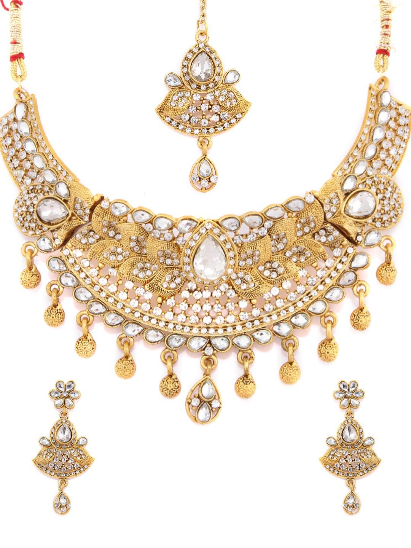 Rubans Matt Finish Gold Plated Traditional Indian Jewelry Set Bollywood Ethnic Wedding Bridal Kundan Necklace Set with Maang Tikka for Women