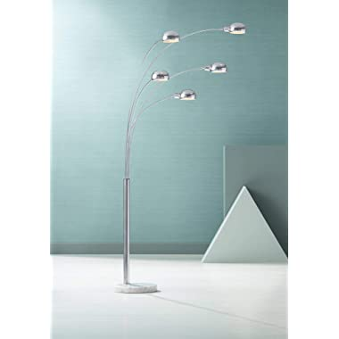 Infini Mid Century Modern Arc Floor Lamp 5-Light Chrome Marble Base Swivel Dome Shades for Living Room Reading - Possini Euro Design