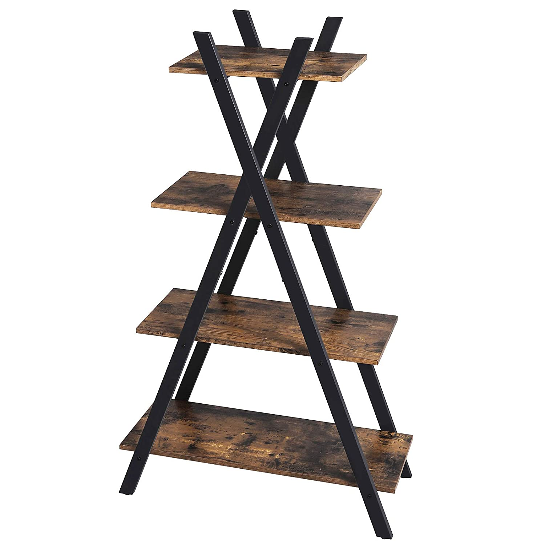 VASAGLE Industrial Ladder Shelf, 4-Tier Storage Rack Unit, Bookshelf for Living Room, Bedroom and Office, Stable Iron Frame, Easy Assembly, Rustic Brown LLS14BX