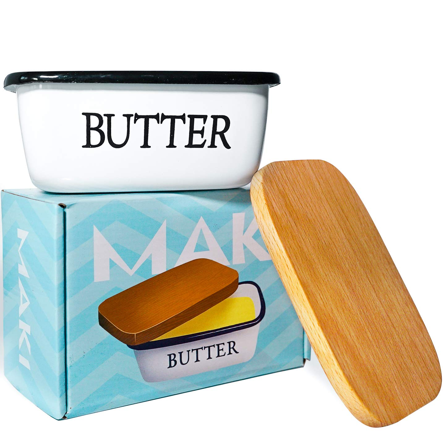 Butter Dish - White Enamel with Beechwood Lid - Fits Western, Eastern, and European Butter Sticks, 6'' x 4'' x 2.5''''Butter'' Boat (Enamel & Beechwood, 6'' x 4'' x 2.5'')