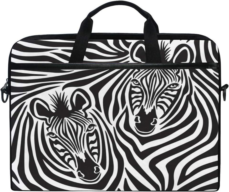 QMXO 14-14.5 inch Laptop Case African Zebra Stripe Couple Pattern Laptop Computer Sleeve Bag Protective Shoulder Bag Carrying Case Briefcase for Office Women Men